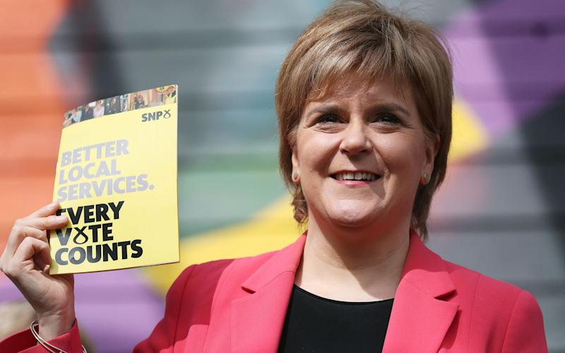 SNP leader Nicola Sturgeon during the launch of the party's local government election manifesto at the Whale Arts Centre in Edinburgh - PA