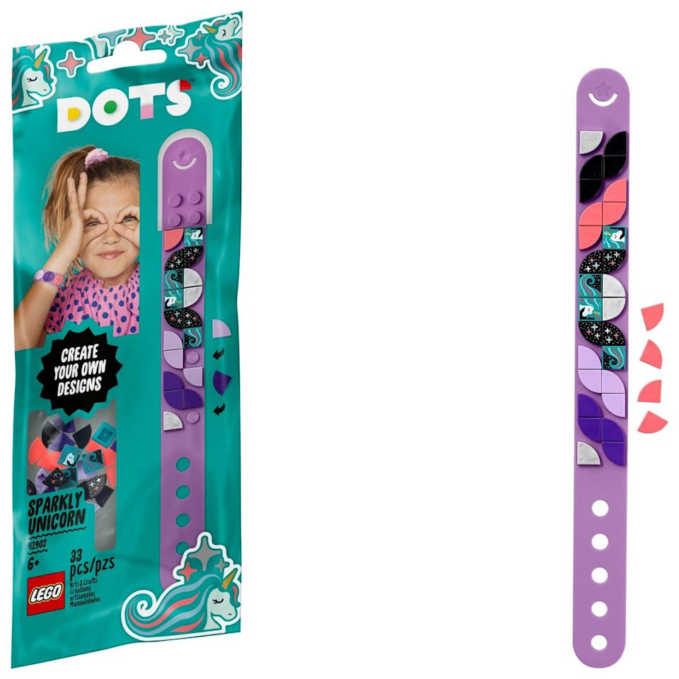 "<p>These <a href=""https://www.popsugar.com/buy/Lego-Dots-Bracelets-572088?p_name=Lego%20Dots%20Bracelets&retailer=michaels.com&pid=572088&price=5&evar1=moms%3Aus&evar9=47244751&evar98=https%3A%2F%2Fwww.popsugar.com%2Ffamily%2Fphoto-gallery%2F47244751%2Fimage%2F47244790%2FLego-Dots-Bracelets&list1=toys%2Clego%2Ctoy%20fair%2Ckid%20shopping%2Ckids%20toys&prop13=api&pdata=1"" class=""link rapid-noclick-resp"" rel=""nofollow noopener"" target=""_blank"" data-ylk=""slk:Lego Dots Bracelets"">Lego Dots Bracelets</a> ($5) each have 33 pieces and are best suited for kids ages 6 and up. They'll be available in March.</p> <p>Related: <a href=""https://www.popsugar.com/family/lego-dots-47221138?utm_medium=partner_feed&utm_source=yahoo_publisher&utm_campaign=related%20link"" rel=""nofollow noopener"" target=""_blank"" data-ylk=""slk:Meet Lego Dots, a New Line of DIY Building Projects That Encourage Creative Expression"" class=""link rapid-noclick-resp"">Meet Lego Dots, a New Line of DIY Building Projects That Encourage Creative Expression</a></p>"