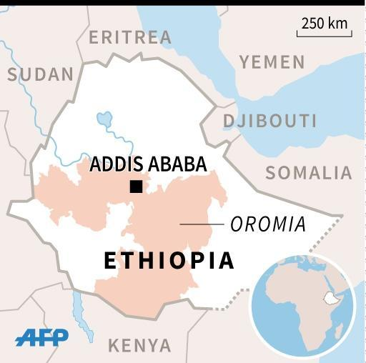 Map of Ethiopia locating the region of Oromia, where violent protests have killed over 100 people, according to Human Rights Watch. (AFP Photo/Jean Michel CORNU)