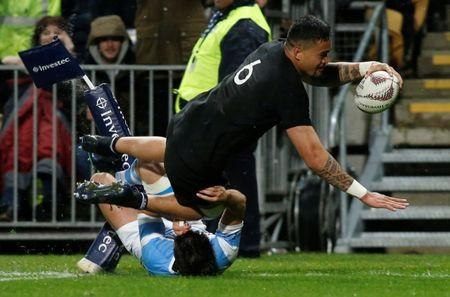 FILE PHOTO: Rugby Union - Championship - New Zealand All Blacks vs Argentina Pumas - New Plymouth, New Zealand - September 9, 2017 - New Zealand's Vaea Fifita on his way to score a try in the second half. REUTERS/Nigel Marple