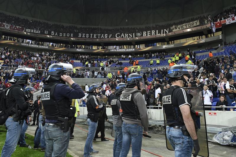 Delays | Lyon's game with Besiktas was set to kick off at 8.05pm UK time: AFP/Getty Images