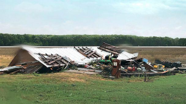PHOTO: In this image made from video provided by WLBT-TV strong storms pound parts of the Deep South, including this house and shed in Yazoo County, Miss., Sunday, April 12, 2020. (Mike Evans/AP)