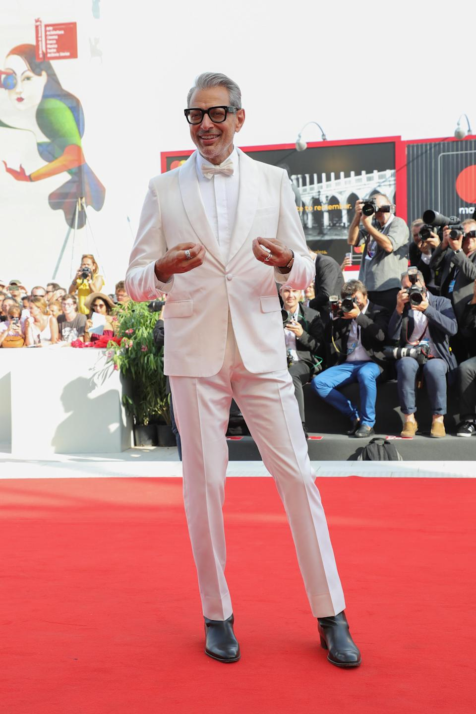 <p>After a series of knockout red carpet appearances, Jeff Goldblum quickly became our style hero. The actor's all-white tux is hands down one of our 2018 favourites. <em>[Photo: Getty]</em> </p>