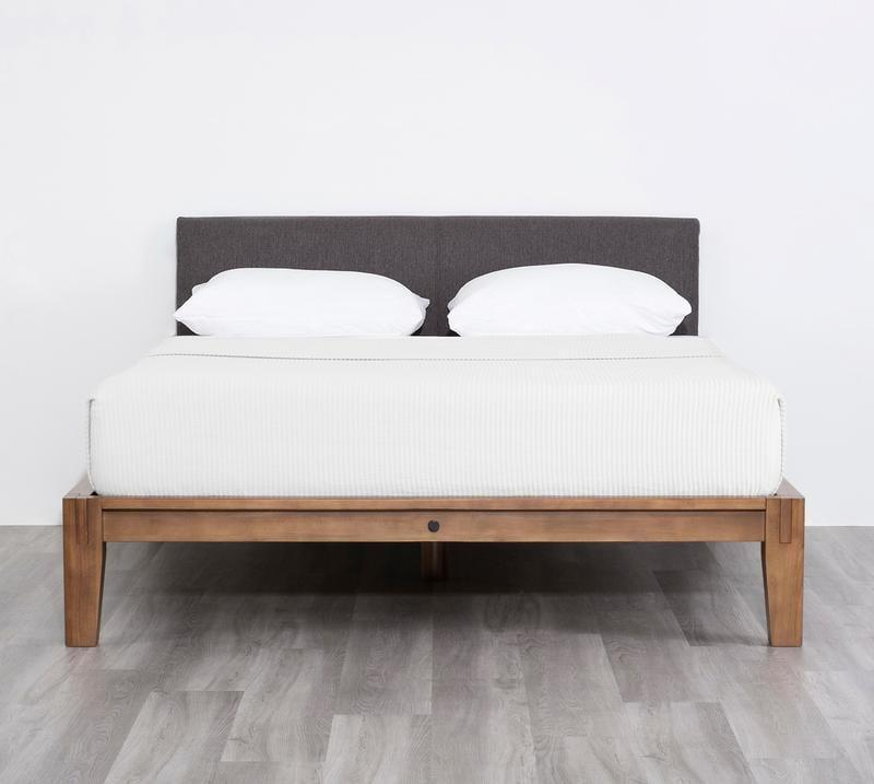 <p>If you prefer a darker wood finish, then opt for the <span>Thuma Bed Frame in Walnut and Charcoal</span> ($695-$1,195). This one is shown with the charcoal gray headboard, but you can also choose the light linen choice.</p>