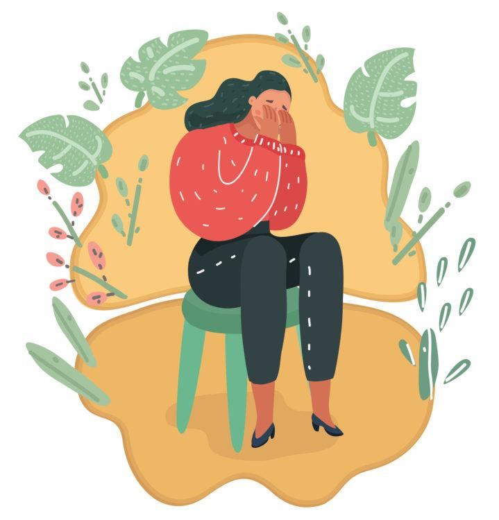 Vector cartoon illustration of girl close her eyes with her handscrying and sit on chair.