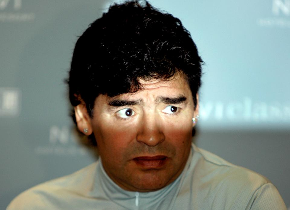 Diego Maradona listens to reporters' question in the Croatian Adriatic town of Novi Vinodolski June 15, 2005. Maradona arrived in Croatia to play a charity soccer match with retired sports stars including Wimbledon champions Goran Ivanisevic and John McEnroe. REUTERS/Nikola Solic Pictures of the Month June 2005 Pictures of the year 2005  NSO/PEK/CN