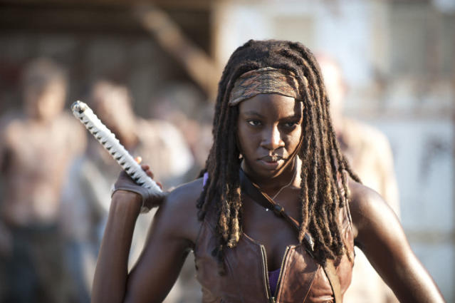 "Michonne (Danai Gurira) in ""The Walking Dead"" episode, ""Say the Word."""