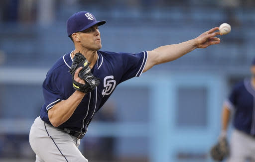 San Diego Padres starting pitcher Clayton Richard throws to the plate during the first inning of a baseball game against the Los Angeles Dodgers, Friday, May 25, 2018, in Los Angeles. (AP Photo/Mark J. Terrill)