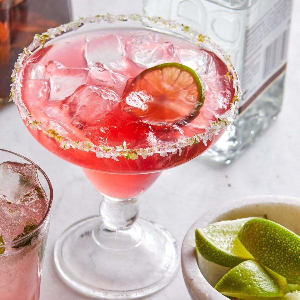<p>Amp up margarita night with a quick homemade simple syrup that packs a brilliant pink hue from dried hibiscus flowers. Serve with guacamole topped with pomegranate seeds and lime tortilla chips.</p>