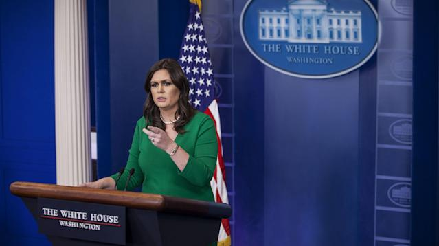 White House press secretary Sarah Huckabee Sanders said Friday that the allegations of sexual assault against Sen. Al Franken (D-Minn.) are different from those President Donald Trump has faced because Trump has denied any wrongdoing.