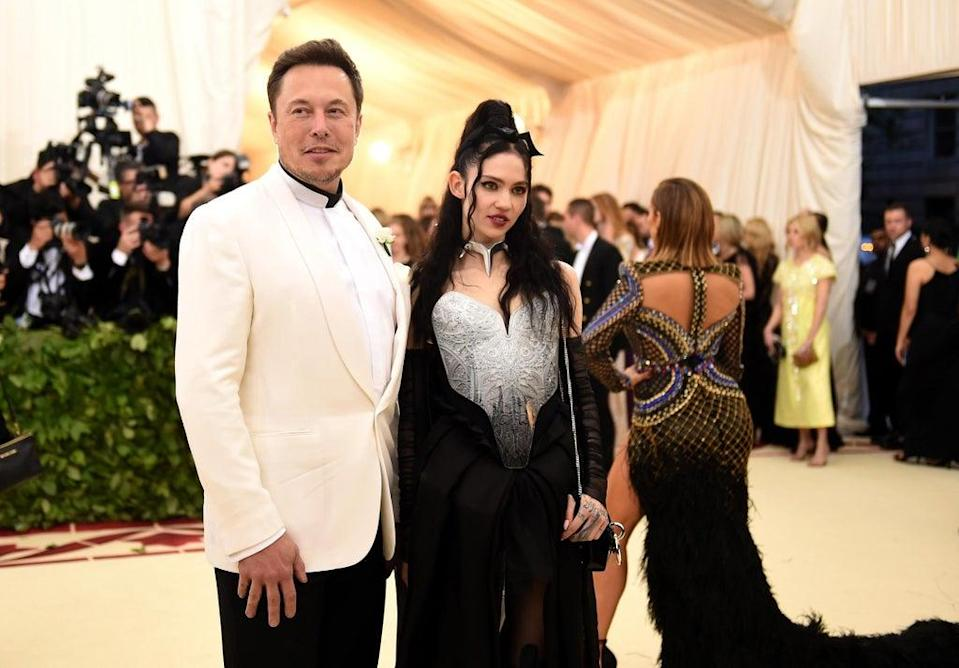 Elon Musk and Grimes at the Met Gala in 2018  (Getty Images)