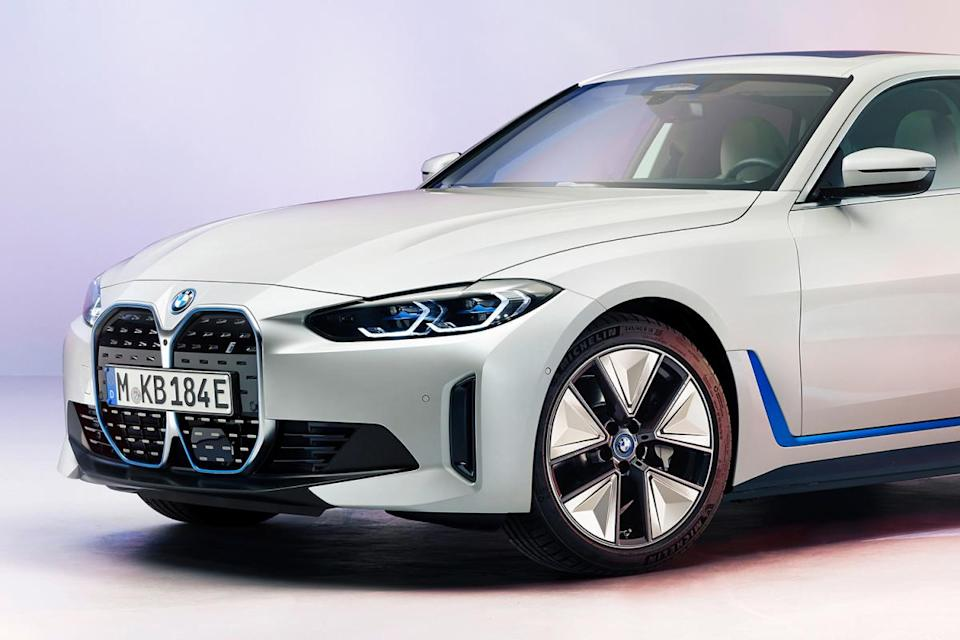 The front half of the new BMW i4 Gran Coupé electric sedan