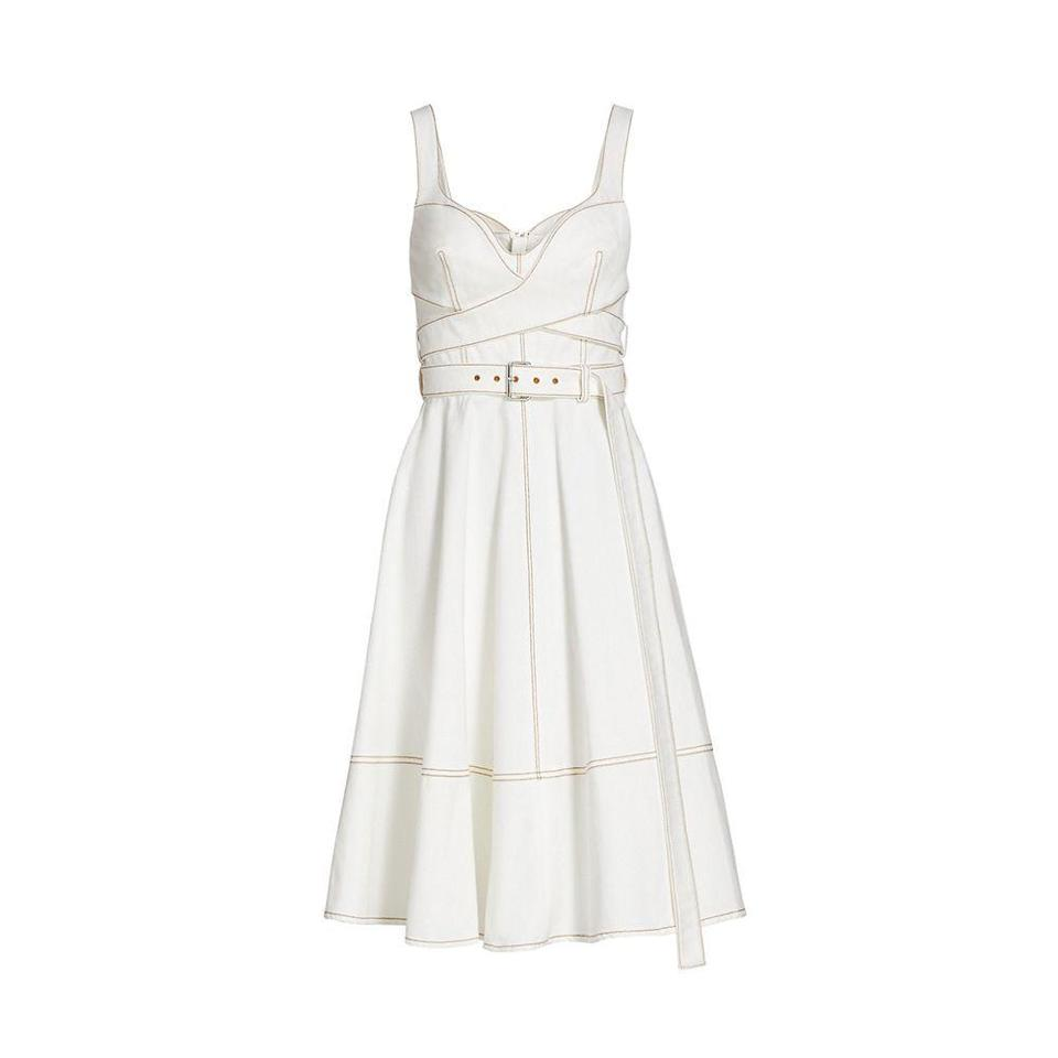 """<p><strong>Alexander McQueen</strong></p><p>saksfifthavenue.com</p><p><a href=""""https://go.redirectingat.com?id=74968X1596630&url=https%3A%2F%2Fwww.saksfifthavenue.com%2Fproduct%2Falexander-mcqueen-50s-denim-dress-0400013431206.html&sref=https%3A%2F%2Fwww.harpersbazaar.com%2Ffashion%2Ftrends%2Fg37113472%2Fdenim-jeans-jacket-sale-saks-fifth-avenue%2F"""" rel=""""nofollow noopener"""" target=""""_blank"""" data-ylk=""""slk:SHOP NOW"""" class=""""link rapid-noclick-resp"""">SHOP NOW</a></p><p><del>$2,090</del> $836 <strong>(60% off)</strong></p><p>If you love to hover between modern and retro, this belted denim wrap dress has your name written all over it. <br></p>"""