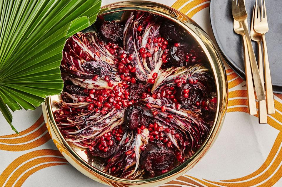 "Whether you're serving chicken, brisket, or fish, you'll need a vegetable for the side. In this autumnal salad, roasting beets over high heat yields charred skin, which is a nice contrast to the sweet flesh. <a href=""https://www.epicurious.com/recipes/food/views/seared-radicchio-and-roasted-beets-with-pomegranate?mbid=synd_yahoo_rss"" rel=""nofollow noopener"" target=""_blank"" data-ylk=""slk:See recipe."" class=""link rapid-noclick-resp"">See recipe.</a>"