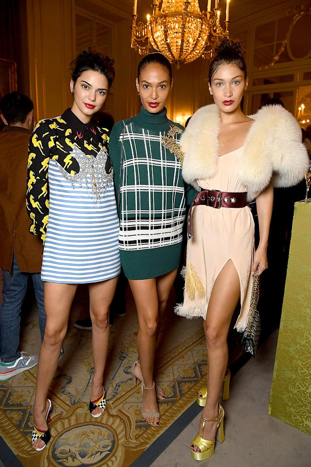 <p>It was model madness at the Miu Miu Cruise Collection show, where three of the most recognizable names in the indsutry were part of the program. (Photo: Pascal Le Segretain/Getty Images) </p>