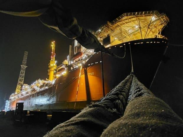 The Terra Nova FPSO is pictured here dockside at the Bull Arm fabrication facility in Trinity Bay. The vessel has not produced oil in Newfoundland and Labrador's offshore since late 2019. (Facebook/Newfoundland Offshore - image credit)