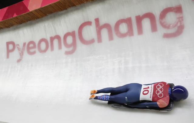 Pyeongchang 2018 Winter Olympics Skeleton - Pyeongchang 2018 Winter Olympics - Women's Finals - Olympic Sliding Centre - Pyeongchang, South Korea - February 17, 2018 - Laura Deas of Britain competes. REUTERS/Arnd Wiegmann