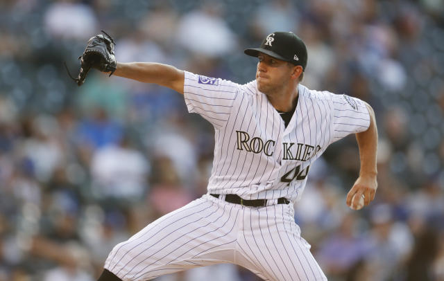 Colorado Rockies starting pitcher Tyler Anderson works against the Los Angeles Dodgers in the first inning of a baseball game Thursday, Aug. 9, 2018, in Denver. (AP Photo/David Zalubowski)