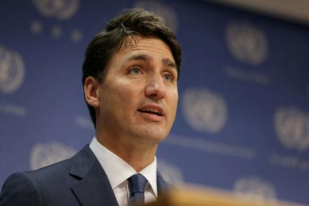 FILE PHOTO: Canadian Prime Minister, Justin Trudeau, speaks during a news conference at U.N. headquarters during the General Assembly of the United Nations in New York