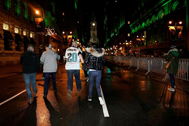 Philadelphia Eagles football fans celebrate their Super Bowl LII victory over the New England Patriots in downtown Philadelphia, Pennsylvania, U.S. February 4, 2018. REUTERS/Jessica Kourkounis