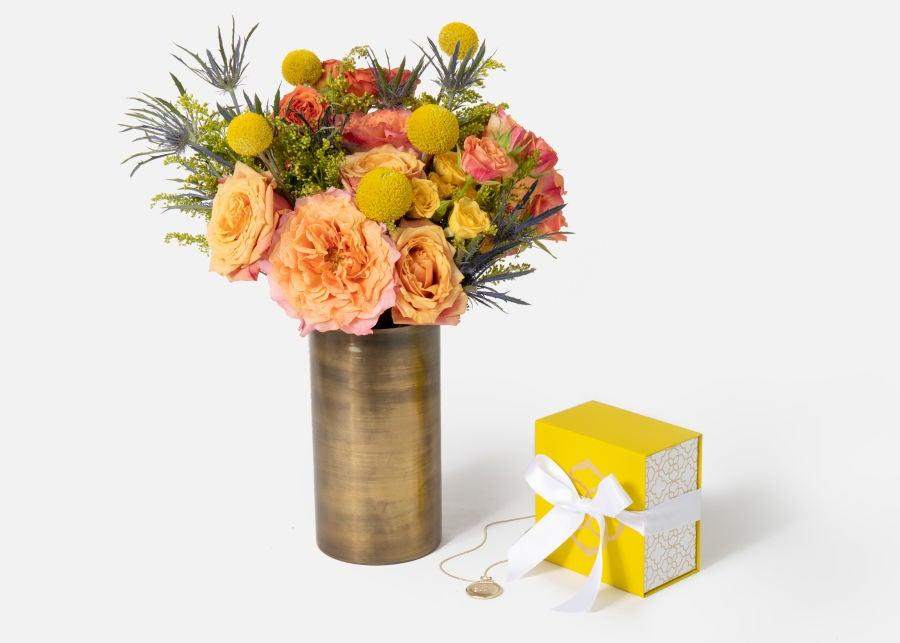 """<h3>Urbanstems The Libra</h3><br>A beautiful floral arrangement is always a great gift idea — especially when paired with some celestial bling-bling.<br><br><strong>Urbanstems</strong> The Libra, $, available at <a href=""""https://go.skimresources.com/?id=30283X879131&url=https%3A%2F%2Furbanstems.com%2Fproducts%2Fflowers%2Fthe-libra%2FFLRL-K-00027.html"""" rel=""""nofollow noopener"""" target=""""_blank"""" data-ylk=""""slk:Urbanstems"""" class=""""link rapid-noclick-resp"""">Urbanstems</a>"""