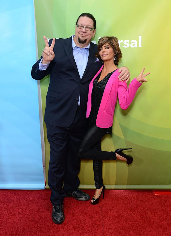 """Penn Jillette and Lisa Rinna attend NBCUniversal's """"2013 Winter TCA Tour"""" Day 1 at Langham Hotel on January 6, 2013 in Pasadena, California."""