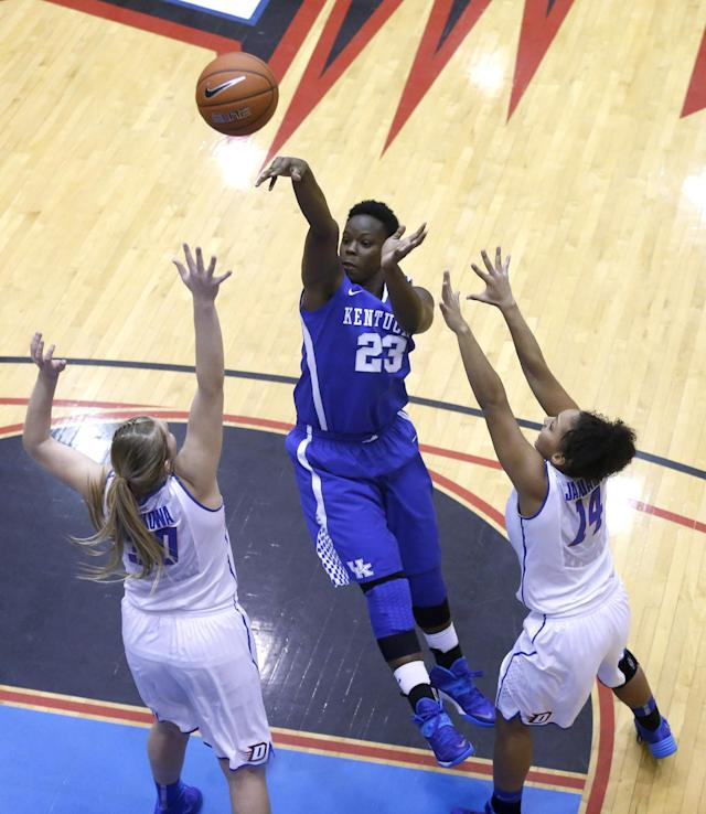 Kentucky forward/center Samarie Walker (23) shoots over DePaul guard/forward Megan Podkowa (30) and Jessica January during the second half of an NCAA college basketball game Thursday, Dec. 12, 2013, in Chicago. Kentucky won 96-85. (AP Photo/Charles Rex Arbogast)