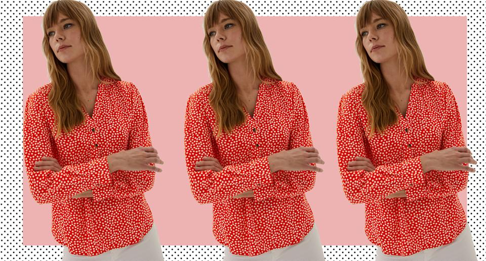 The M&S blouse we're adding to our basket ASAP. (Marks & Spencer)