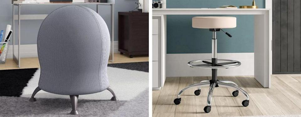Mclean Exercise Ball Chair and Huckstep Height Adjustable Lab Stool with Footring