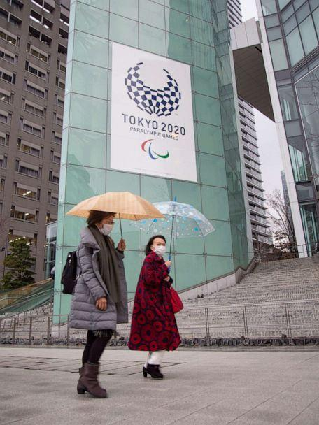 PHOTO: People wearing face masks walk by the headquarters for the Tokyo Organizing Committee of the Olympic and Paralympic Games in Tokyo, Japan, on March 2, 2020. (Anthony Trotter/ABC News)