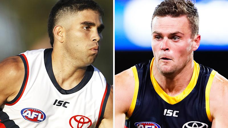 Adelaide Crows players Tyson Stengle and Brad Crouch are under investigation by their AFL club after being caught with illicit drugs in the Adelaide CBD on Monday morning. Pictures: Getty Images