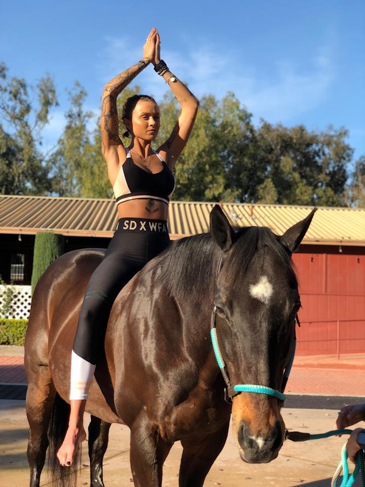 <p>It's the newest wellness trend to take off in LA and definitely something to try next time you head to California. Photo: Supplied/Spirit Horse Yoga </p>