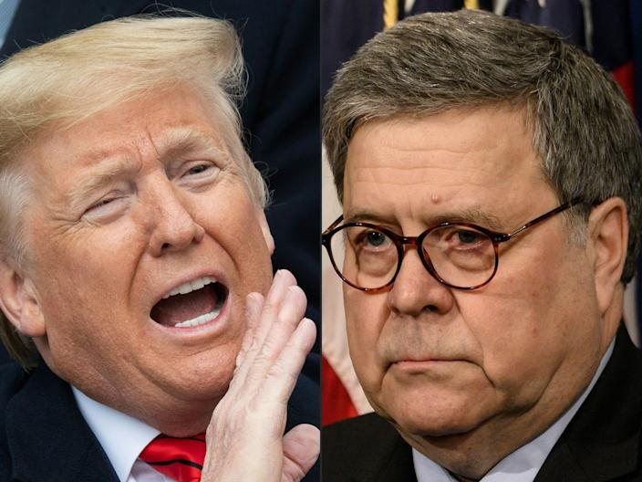 President Donald Trump at the White House on Jan. 29, 2020, and Attorney General William Barr at the Justice Department on Jan. 13, 2020.