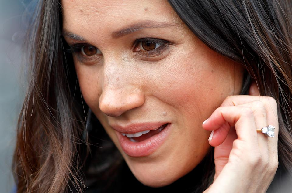 EDINBURGH, UNITED KINGDOM - FEBRUARY 13: (EMBARGOED FOR PUBLICATION IN UK NEWSPAPERS UNTIL 24 HOURS AFTER CREATE DATE AND TIME) Meghan Markle visits Edinburgh Castle on February 13, 2018 in Edinburgh, Scotland. (Photo by Max Mumby/Indigo/Getty Images)