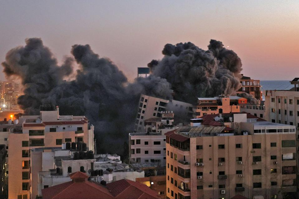 Smoke billows from an Israeli air strike on the Hanadi compound in Gaza City (AFP via Getty Images)