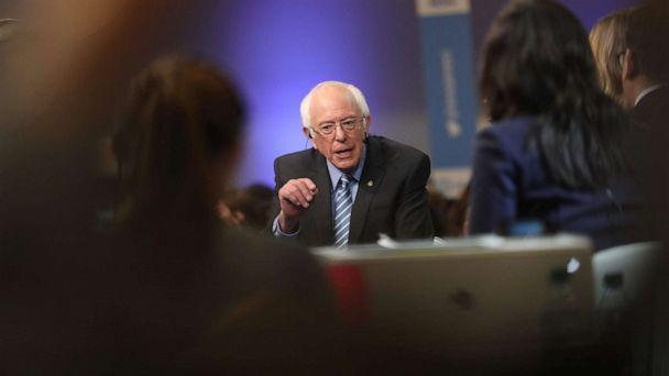 PHOTO: Democratic presidential hopeful Vermont Senator Bernie Sanders gives an interview in the spin room after participating in the tenth Democratic primary debate in Charleston, S.C., Feb. 25, 2020. (Logan Cyrus/AFP/Getty Images)