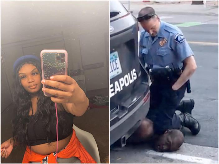 Darnella Frazier, then 17, filmed the now-infamous video of George Floyd being killed by Minneapolis police on 25 May, 2020. (Darnella Frazier/Facebook)