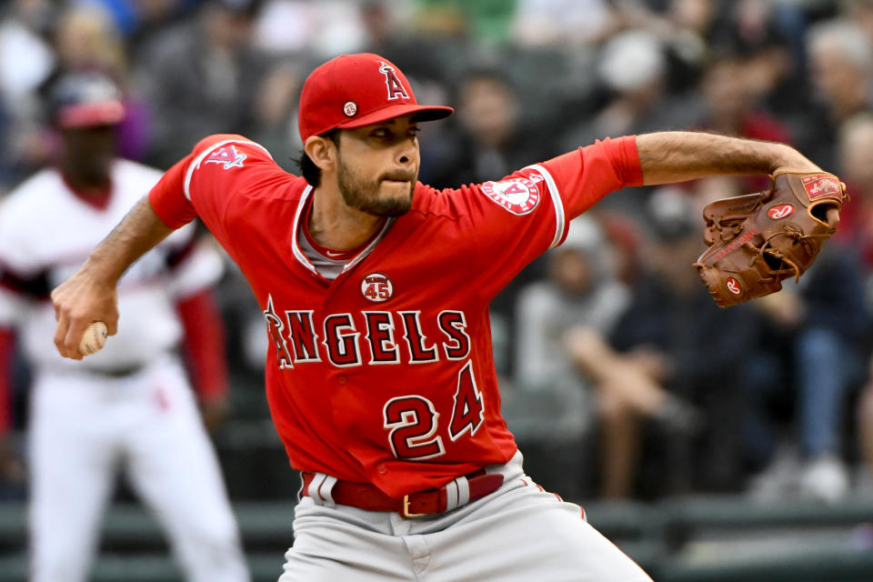 Los Angeles Angels starting pitcher Noe Ramirez (24) delivers against the Chicago White Sox during the first inning of a baseball game Sunday, Sept. 8, 2019, in Chicago. (AP Photo/Matt Marton)