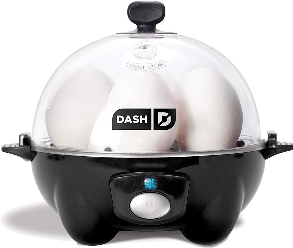 """You can make hard-, medium- or soft-boiled eggs to your heart's content — and make them perfectly every time. Just fill this gadget with water according to your chosen level of egg doneness, add up to six eggs, and turn it on. When the eggs are done, a sound will play to alert you. The removable parts are also dishwasher-safe.<br /><br /><strong>Promising review:</strong>""""If hard-boiled eggs are at all a part of your life,<strong>this device will change everything.</strong>Reclaim lost hours, catch up on missed TV, reconnect with old friends and family — anything is possible with the free time you'll find at your disposal as you drop six eggs into this beast, press a button, and then walk away. What will you do? High-intensity exercise? Model building? Learn a second language? I hear your concern. 'What if I become so engrossed in my newfound love of taxonomy that I forget about my eggs?' Fear not, efficient chef. Like the trump of Gabriel himself, the unmistakable tone of this technological marvel could rouse the dead and will bring you running to your fresh-and-ready ova's side. <strong>The Dash Go Rapid Egg Cooker is what mankind has been working towards since the first roundish stone was shaped into a wheel. Witness the apex of human innovation!</strong>"""" —<a href=""""https://amzn.to/3va6PlN"""" target=""""_blank"""" rel=""""nofollow noopener noreferrer"""" data-skimlinks-tracking=""""5723569"""" data-vars-affiliate=""""Amazon"""" data-vars-href=""""https://www.amazon.com/gp/customer-reviews/R2C510GBIXH0OS?tag=bfjasmin-20&ascsubtag=5723569%2C16%2C31%2Cmobile_web%2C0%2C0%2C14870775"""" data-vars-keywords=""""cleaning"""" data-vars-link-id=""""14870775"""" data-vars-price="""""""" data-vars-product-id=""""15943293"""" data-vars-retailers=""""Amazon"""">J. Mercer Crenshaw</a><br /><br /><strong>Get it from Amazon for <a href=""""https://amzn.to/2QxdDKU"""" target=""""_blank"""" rel=""""noopener noreferrer"""">$19.99</a> (available in five colors).</strong>"""