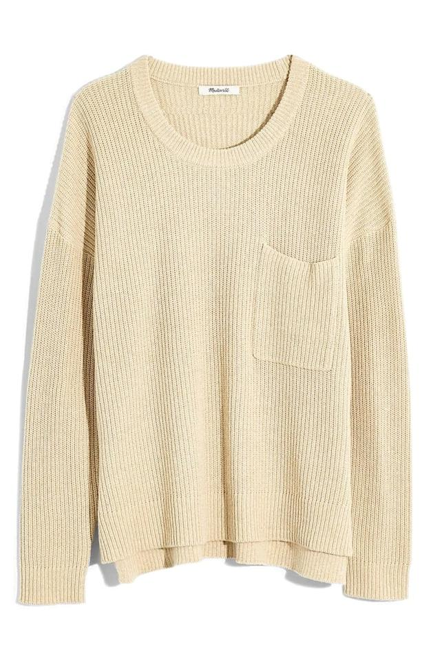 """<p>This classic <a href=""""https://www.popsugar.com/buy/Madewell-Thompson-Pocket-Pullover-Sweater-484285?p_name=Madewell%20Thompson%20Pocket%20Pullover%20Sweater&retailer=shop.nordstrom.com&pid=484285&price=42&evar1=fab%3Aus&evar9=46559802&evar98=https%3A%2F%2Fwww.popsugar.com%2Fphoto-gallery%2F46559802%2Fimage%2F46562386%2FMadewell-Thompson-Pocket-Pullover-Sweater&list1=shopping%2Cnordstrom%2Clabor%20day%2Csale%20shopping&prop13=api&pdata=1"""" rel=""""nofollow"""" data-shoppable-link=""""1"""" target=""""_blank"""" class=""""ga-track"""" data-ga-category=""""Related"""" data-ga-label=""""https://shop.nordstrom.com/s/madewell-thompson-pocket-pullover-sweater-regular-plus-size/5428466?origin=category-personalizedsort&amp;breadcrumb=Home%2FSale%2FWomen%2FNew%20Markdowns&amp;color=heather%20fawn"""" data-ga-action=""""In-Line Links"""">Madewell Thompson Pocket Pullover Sweater </a> ($42, originally $70) is a Fall staple.</p>"""