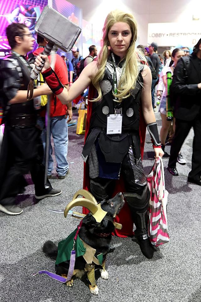 <p>Cosplayer dressed as Thor and dog dressed as Loki at Comic-Con International on July 21, 2018, in San Diego. (Photo: Angela Kim/Yahoo Entertainment) </p>