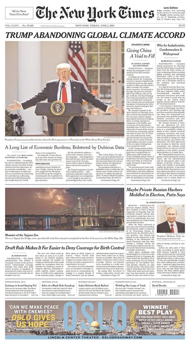 "<p>""The New York Times,"" published in New York, N.Y. (Newseum) </p>"