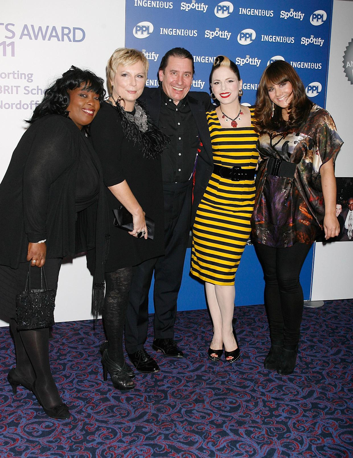 Rumer,Jennifer Saunders,Ruby Turner,Jools Holland and Imelda May arrive at the Music Industry Awards at the Grosvenor House Hotel in London