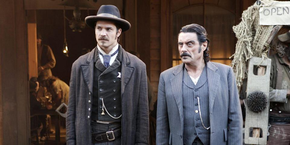 Timothy Olyphant and Ian McShane (Credit: HBO)