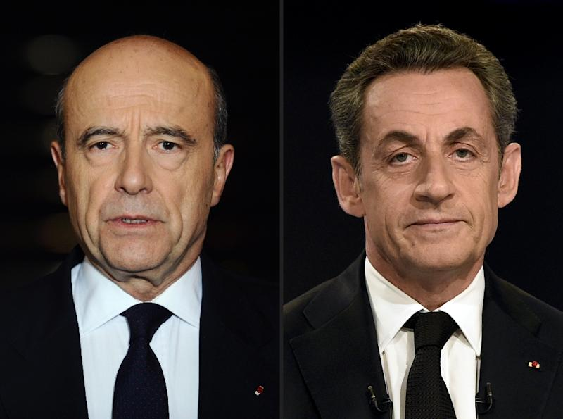Alain Juppe (left) and Nicolas Sarkozy are among seven candidates who will appear in a televised debatefor the right-wing presidential nomination (AFP Photo/Martin Bureau)