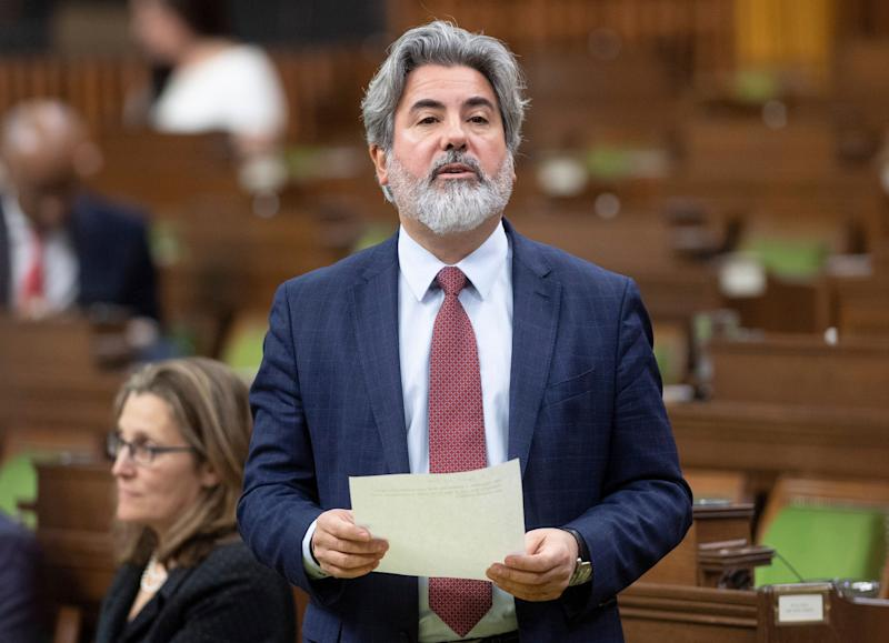 Government House Leader Pablo Rodriguez rises in the House of Commons during a special sitting of Parliament on March 24, 2020 in Ottawa. (Photo: Adrian Wyld/CP)