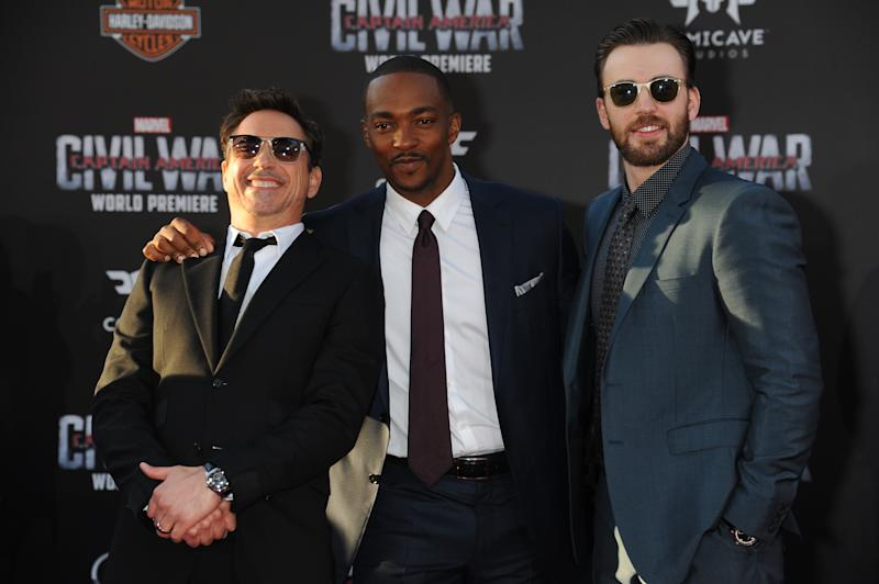 HOLLYWOOD, CA - APRIL 12: (L-R) Actors Robert Downey Jr., Anthony Mackie and Chris Evans attend the premiere of Marvel's 'Captain America: Civil War' at Dolby Theater on April 12, 2016 in Hollywood, California. (Photo by Frank Trapper/Corbis via Getty Images)