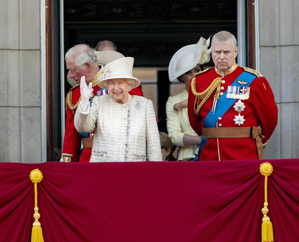 08-06-2019 England The ceremony of the Trooping the Colour, marking the monarch's official birthday, in London. Queen Elizabeth II Laurence, Prince Charles, Prince of Wales Prince Andrew ( PPE/Nieboer /Sipa USA)
