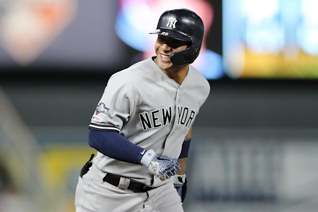"""<a class=""""link rapid-noclick-resp"""" href=""""/mlb/players/10236/"""" data-ylk=""""slk:Gleyber Torres"""">Gleyber Torres</a> delivered a monster 2018 season — how will he follow it up? (Photo by Elsa/Getty Images)"""
