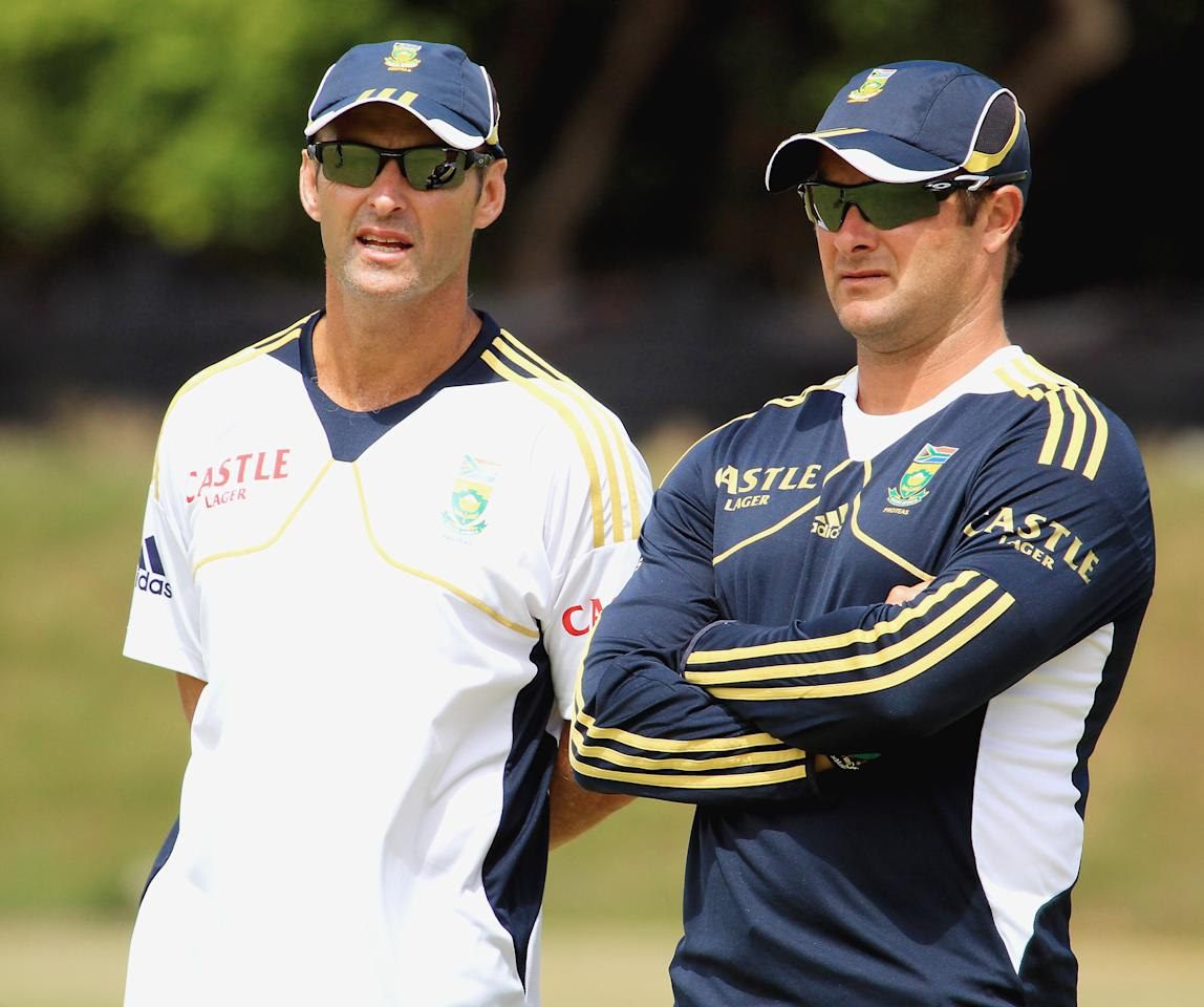 CAPE TOWN, SOUTH AFRICA - JANUARY 17: Head coach Gary Kirsten (L) and Mark Boucher attend the South African national cricket team nets session and press conference at Claremont Cricket Club on January 17, 2013 in Cape Town, South Africa.  (Photo by Grant Pitcher/Gallo Images/Getty Images)
